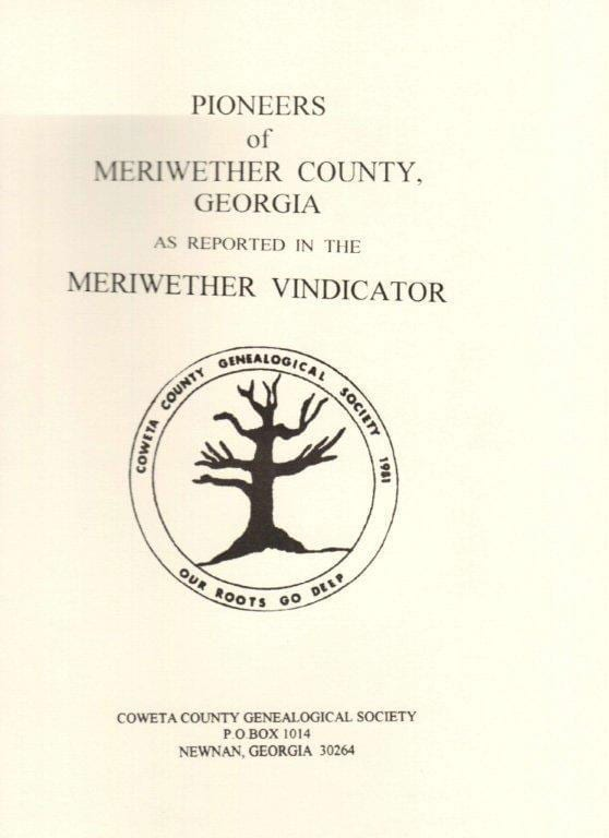 Publications For Sale Coweta County Genealogical Society - 1920 us census map for meriweather county georgia